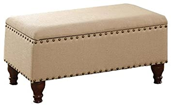 Storage Bench Ottoman with Nailhead Trim and Decorative Turned Wooden Legs * Beautiful Piece for Your Bedroom entryway livingroom Vanilla Beige