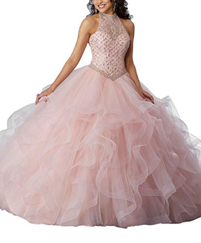 Beaded Bella Skirt (Yisha Bello Women's Crystal Beaded Quinceanera Dresses High Neck Sleeveless Organza Ruffles Ball Gowns 16w Pink)