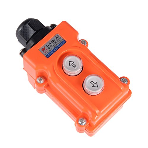 uxcell Rainproof Hoist Crane Pendant Control Station ABS Push Button Switch Up Down 2 Ways Orange