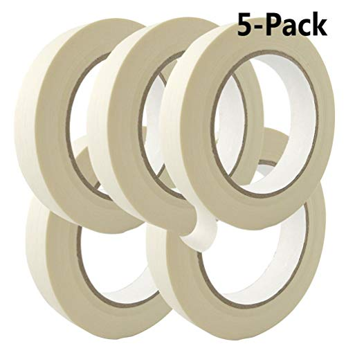 - 5 Pack 0.75'' Masking Tape White, Each 55 Yard Roll General Purpose Masking Tape for Home and Office, Used for Painting, Packing and More