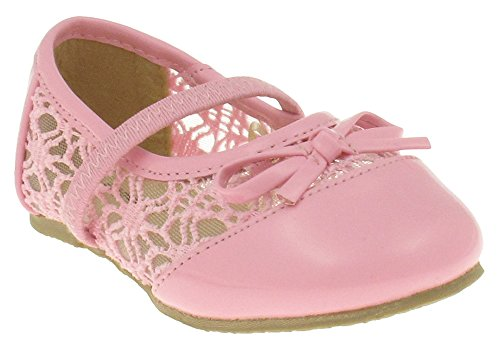 Capelli New York Crochet with Mesh Bow and Binding Toddler Girls Flat Light Pink 8