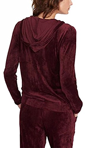 (Gloria Vanderbilt Ladies' Velour Hooded Jackets for Women Ellie Merlot M)