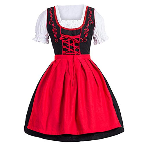 Women Oktoberfest Costume Girl Bavarian German Dirndl Maiden Dress Carnival Halloween Cosplay Party Waitress Clothes (XL, Red) -