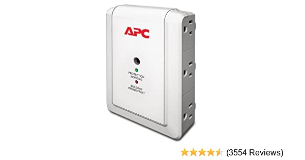 APC Wall Outlet Multi Plug Extender, P6W, (6) AC Multi Plug Outlet, 1080 Joule Surge Protector