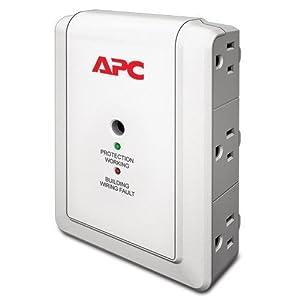 APC Wall Outlet Multi Plug Extender, P6W, (6) AC Multi Plug Outlet, 1080 Joule Surge Protector Beige