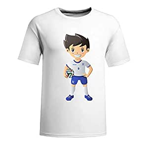 Custom Mens Cotton Short Sleeve Round Neck T-shirt,2014 Brazil FIFA World Cup UP72 white by mcsharks
