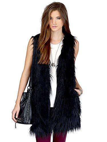 Edary Women Faux Fur Vest Black Vintage Warm Waistcoat Sleeveless Jacket (Black, S) (Vintage Fur Vest)
