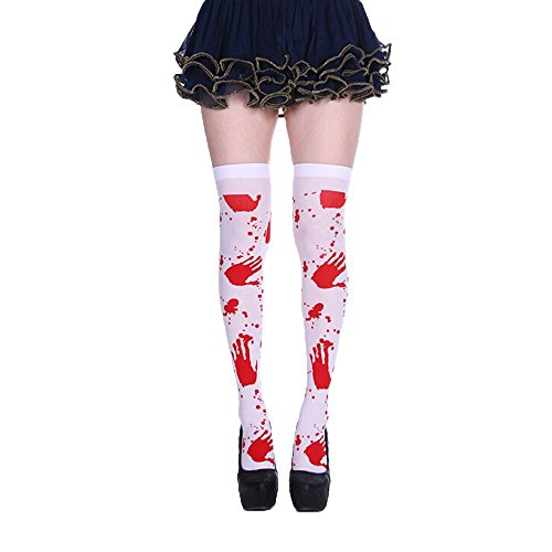 Halloween Blood Stained Stockings Women Nurse Cosplay Leggings Knee Length Socks -