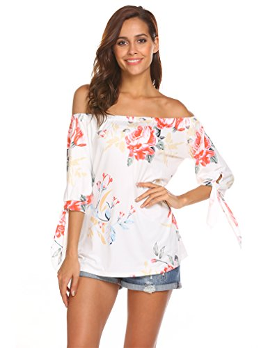 Qearal Women's Floral Printed Long Sleeve Off Shoulder Casual Tops T-Shirt (White, S)