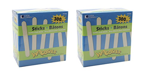 Loew Cornell 1021253 Woodsies Jumbo Craft Sticks (2-Pack, Total 600)