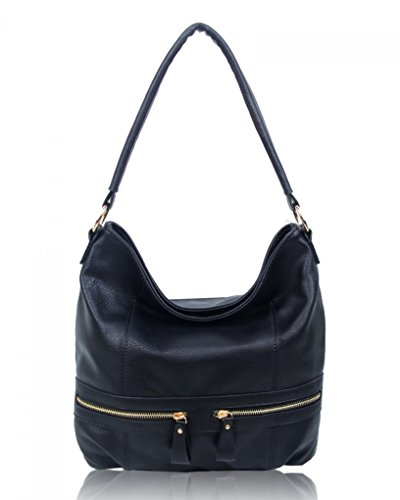 Style Handbags Women's For Bags Faux Fashion BLACK ZIPPER Shoulder CW150906 Tote Leather Ladies Bag LeahWard® BxEqSwS