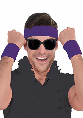 Athlete Sweatband Kit - Set of 1 Headband and 2 Wristbands, Cotton, Purple -