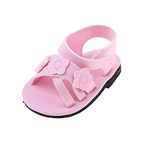 Homyl Pink Summer Flower Leather Sandals Shoes for 18inch American Doll Dolls Clothes or Other 18inch Doll ()