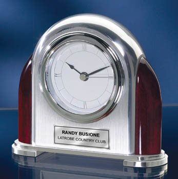 (Personalized Rounded Chrome oand Brush Silver Arch Desk Clock with Wooden Cherry Accents. Personalized Clock retirement gift, anniversary gift or employee recognition service award gift.)