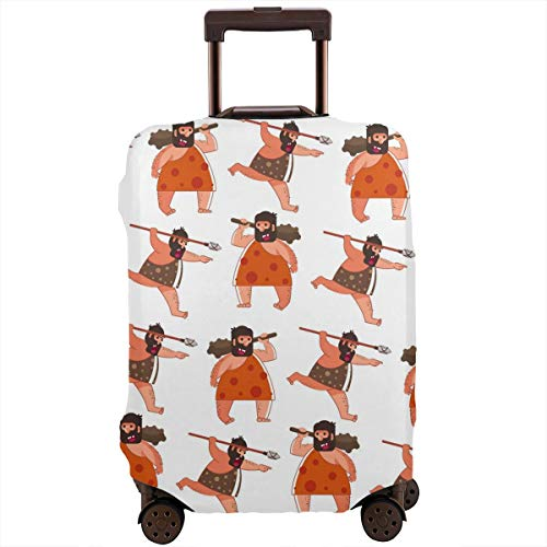 OTMBJFTE Caveman Primitive Person with Bat and Spear Washable Polyester Funny Double-Sided Printing Luggage Baggage Protector Travel Suitcase Cover Good Elasticity S-XL,Luggage Cover