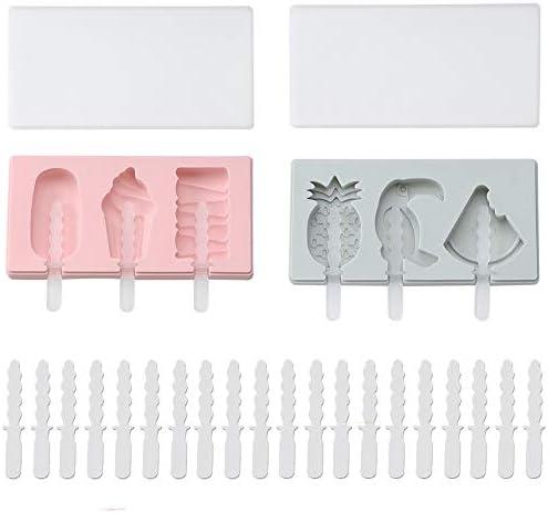 2 stuks siliconen ijs stick ijs mallen zelfgemaakte handgemaakte DIY ijs schimmel cartoon watermeloenananasvogel vorm DIY schimmel ijs pop maker dessert cakevorm20st plastic stokken blauw roze