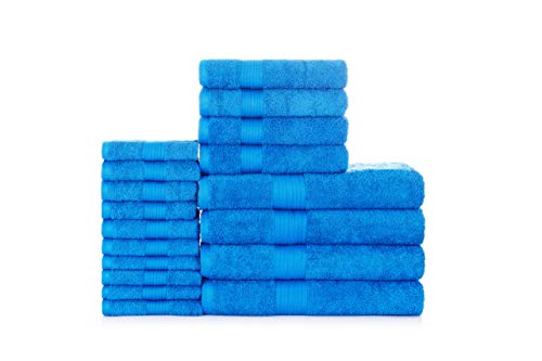 Ample Decor Quick-Dry 100% Cotton Super Soft and Highly Absorbent 18-Piece Towel Set, 4 Bath Towels, 4 Hand Towels and 10 Washcloths - Blue
