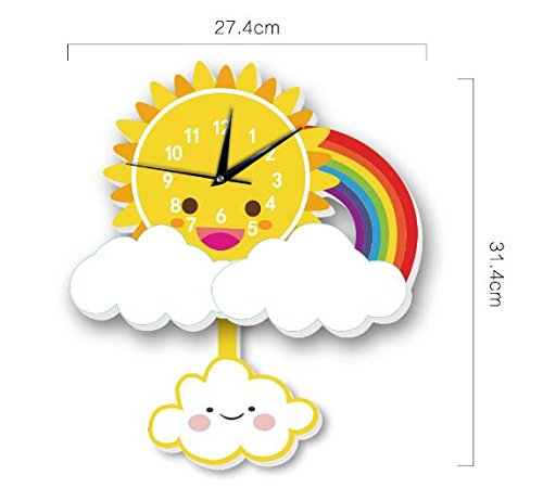 INS Sun Rainbow Wall Clock Wall Background Cartoon Wall Bell Slient quartz clock (5) by Sportskindom (Image #6)