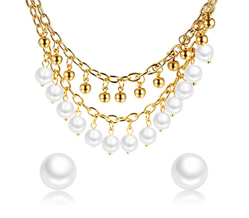 Stainless Steel Love Infinity Double Ring Necklace (Gold Plated) - 5