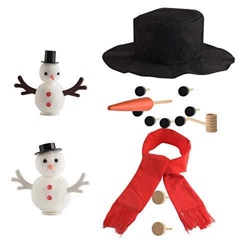 TUPARKA 36 Pcs Snowman Decorating Kit, Snowman Making Kit Snowman Dressing Kit DIY Mini Christmas Snowman Kit Kids Toys for Christmas Holiday Decorations