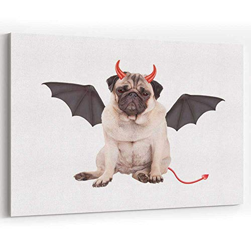 Actorstion Devilish Cute Pug Puppy Dog Sits Dressed up as Devil for Halloween Canvas Art Wall Dcor, 36