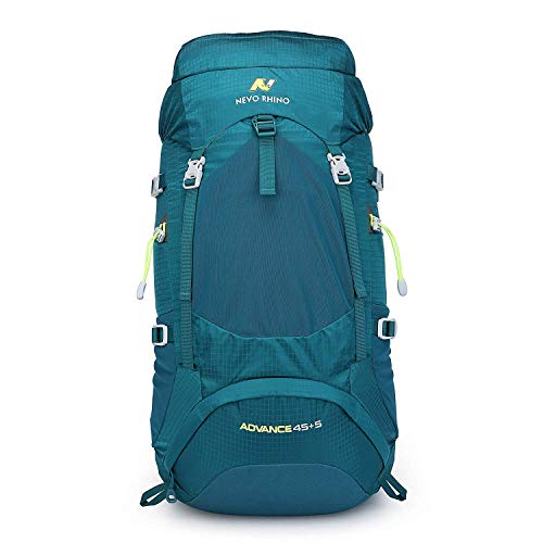 NEVO Rhino 45L / 50L Internal Frame Backpack, Durable Nylon Climbing Sports Ultralight Daypack with Whistle Buckle, Rain Cover, High-Performance Backpack for Backpacking, Hiking, Camping, Trekking