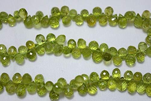 GemAbyss Beads Gemstone Peridot Tear Drops Beads, Peridot Faceted Cut Drops Briolettes Gemstone for Jewelry, 5x7mm Approx, 7.5 Inch Strand Code-MVG-24380