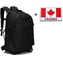Aidonger Outdoor Military Tactical Hiking Backpack 3 Day Assault Pack Molle Camping Rucksack + Tactical Patch (Black)
