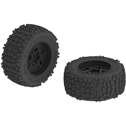 ARRMA AR510092 Dboots Backflip 3.8'' Mt 6S RC Monster Truck Tire with Foam Insert, Mounted On Multi-Spoke Wheel 17Mm Hex, Black (Set of 2)