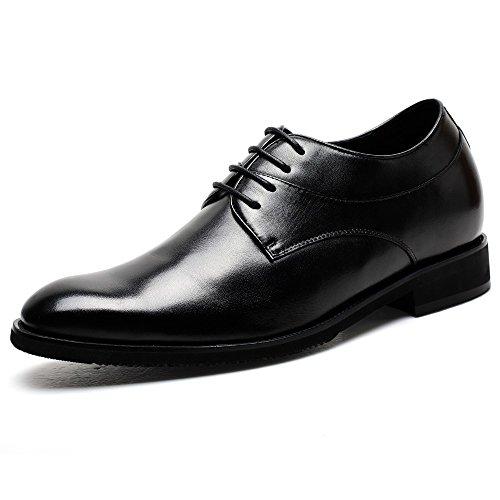 Scarpe Da Uomo Chamaripa Per Ascensori Scarpe Basse Oxford In Pelle Di Vitello - 7,5 Cm Più In Alto - K4022 ¡nero03