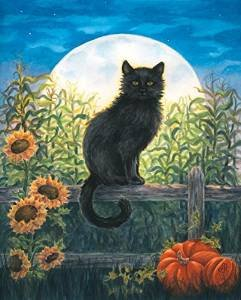 Harvest Moon Cat Fall Garden Flag Black Cat Halloween Autumn 12.5