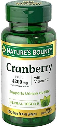 Natures Bounty Cranberry Fruit Plus Vitamin C, 4200mg 120 Softgels