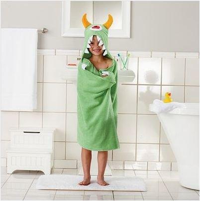 Children's Hooded Bath Beach Towel GREEN MONSTER by Jumpi...