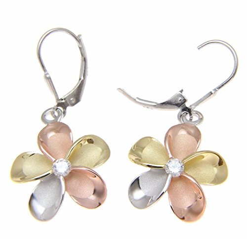 925 sterling silver yellow rose gold rhodium plated tricolor Hawaiian plumeria leverback earrings cz 18mm