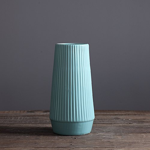 D'vine Dev 11.5'' Fluted Tall Blue Glazed Ceramic Vase - Ideal for fresh bouquets, floral arrangement, greenery or silk flowers, everyday home decoration vase and special (Blue Porcelain Bouquet)
