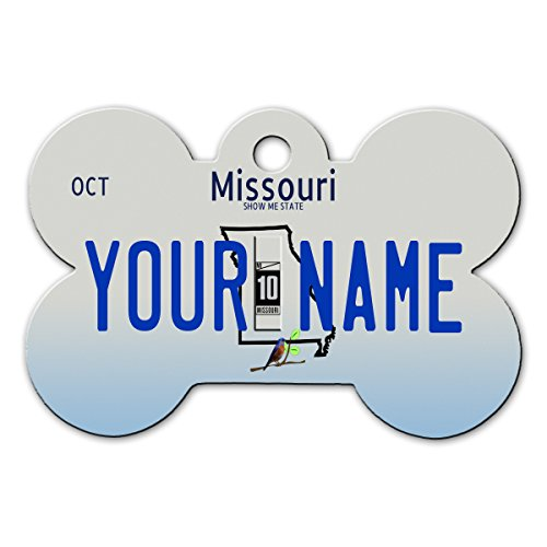 - BleuReign(TM Personalized Custom Name 2016 Missouri State License Plate Bone Shaped Metal Pet ID Tag with Contact Information