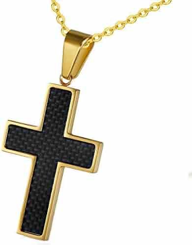 Mens Retro Punk Cross Titanium Steel Pendant Necklace Chain 3mm 4mm 23.6inch 27.6inch