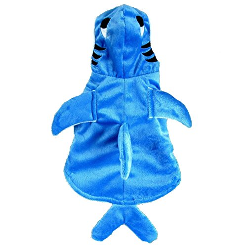 Genda 2Archer Adorable Blue Shark Pet Costume Hoodie Coat for Dogs and Cats - Pet Cat Shark Costumes