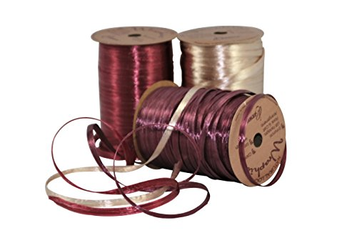 Raffia Gift Wrap Ribbon Bundle (Pearlized Burgundy/Wine/Ivory) by Creative Gift Wrap