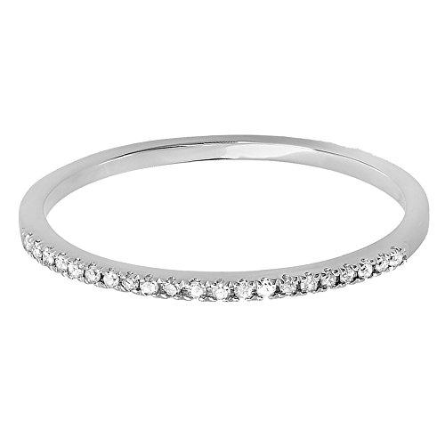 Dazzlingrock Collection 0.08 Carat (ctw) 10K Round White Diamond Ladies Anniversary Wedding Band, White Gold, Size 6