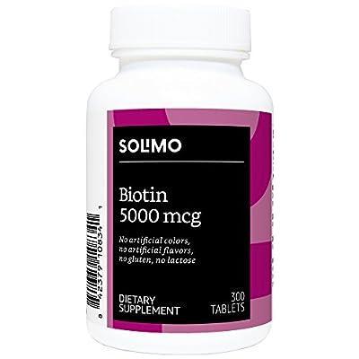 Amazon Brand - Solimo Biotin 5000mcg, 300 Tablets, Value Size - Ten Month Supply