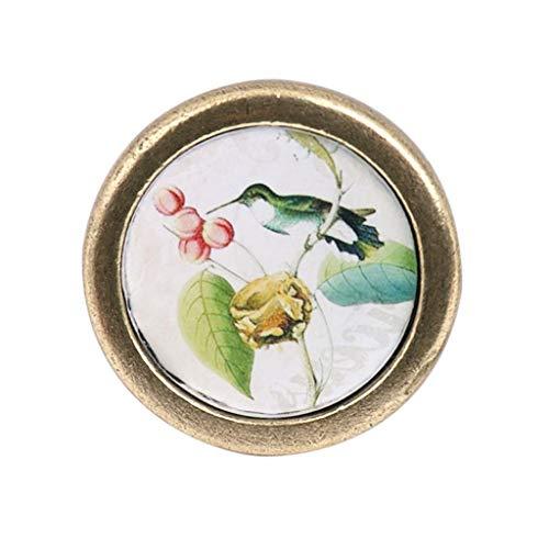 Vintage Wardrobe Knob Cabinet Door Kitchen Cupboard Drawer Ring Handle Bird