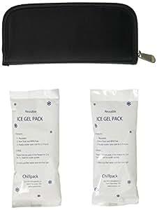 Chill Pack Diabetic Insulin Pen/Syringes Cooler Pocket Case, 2 X Ice Packs Included, Black