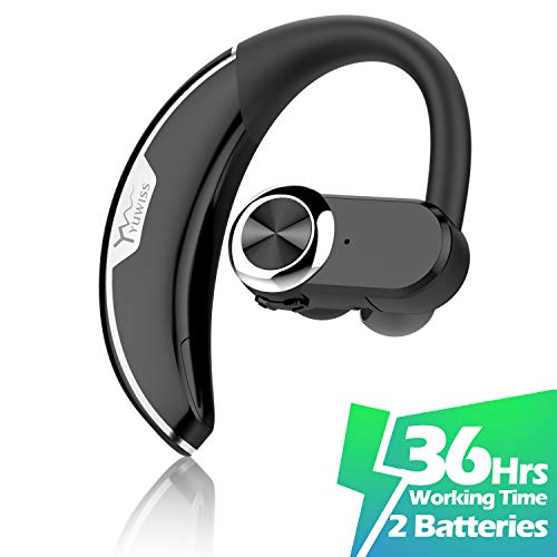 YW YUWISS Bluetooth Headset [36Hrs Playtime, 2 Batteries] Wireless Bluetooth Earpiece for Cell Phone Noise Canceling Car Earphones with Mic Compatible with iPhone Samsung Android (Upgraded Version)