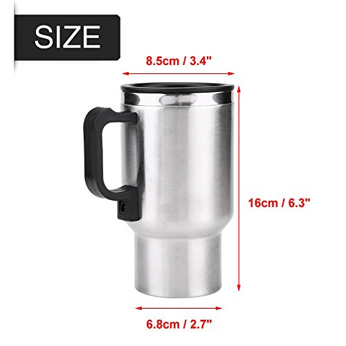 Electric Car Kettles Boiling Heat Cup Insulation Insulated Bottles 450ml 12V Stainless Steel Cigarette Lighter Plug by Aramox (Image #4)
