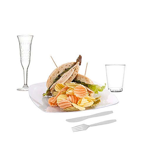 ... Plastic Dinner Plates 20 Forks 20 Knives 20 Ch&agne Flutes 20 Clear Plastic Cups. Disposable Plastic Set Catering Dinnerware Kitchen \u0026 Dining  sc 1 st  Amazon.com & Amazon.com: PARTY SERVING SET 100 PIECES: 20 Clear Plastic Dinner ...