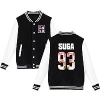 BTS Béisbol Chaqueta de Uniforme Chicos Bangtan Suga Jin Jimin Jung Kook Suéter Abrigo L Negro SUGA