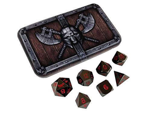 Skull Splitter Dice Smoke and Fire Metal Dice - Shiny Black Nickel with Red Numbers | Solid Metal Polyhedral Role Playing Game (RPG) Dice Set (7 Die in Pack) with New Awesome Dwarven Chest Case