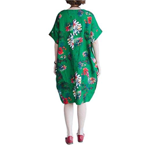 Vestido De La Manera De Gran Tamaño Sueltos HGDRSpring Y Verano De Las Mujeres Green