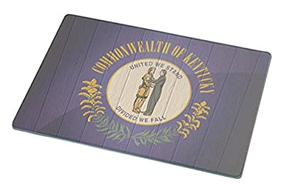 Rikki Knight Kentucky Flag on Distressed Wood Large Glass Cutting Board